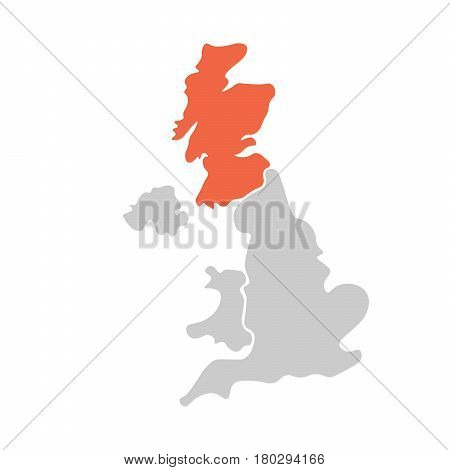 Simplified hand-drawn blank map of United Kingdom of Great Britain and Northern Ireland, UK. Divided to four countries with Scotland red highlighted. Simple flat vector illustration.