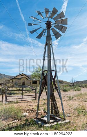An old windmill water pump Hackberry Arizona