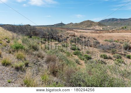 Mountains and scrub in the high desert Hackberry Arizona