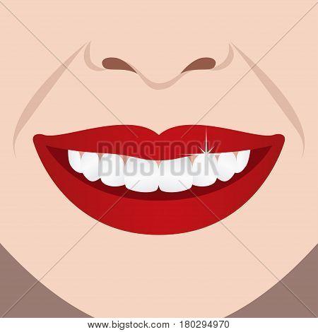 Beautiful woman perfect teeth smile. Vector illustration