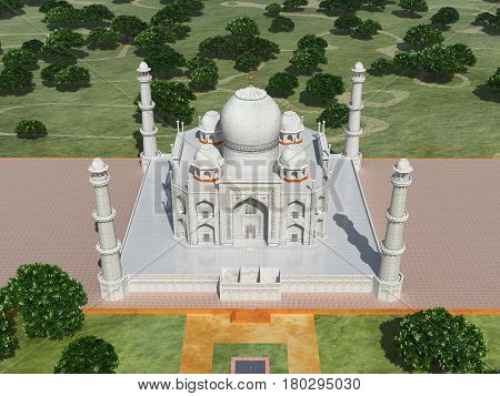 Computer generated 3D illustration with the Taj Mahal in India