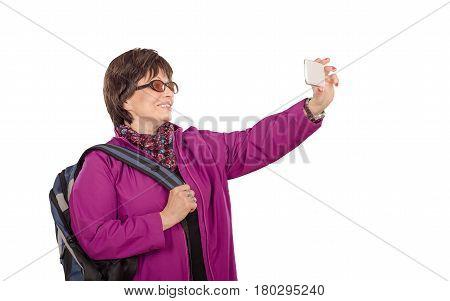 Traveling Elderly Woman Shooting With Mobile Phone