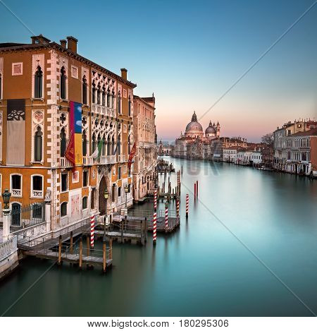 Grand Canal and Santa Maria della Salute Church from Accademia Bridge Venice Italy
