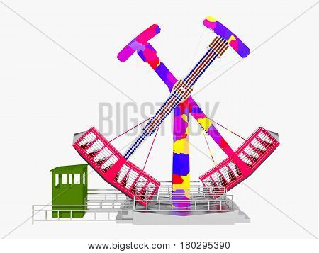 Computer generated 3D illustration with an amusement park ride isolated on white background