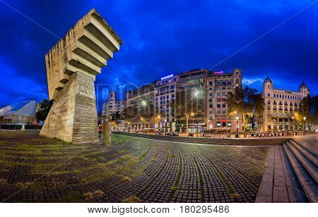 BARCELONA SPAIN - NOVEMBER 17 2014: Monument to Francesc Macia on the Placa de Catalunya. The square occupies an area of about 50000 m2 and it's considered to be the center of the city.