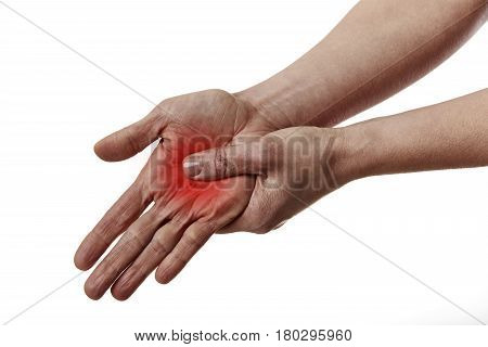 Woman touching her painful palm. Physiotherapy and massage.