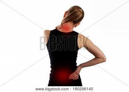 Back muscles cramp. Woman with painful neck and spine over white background.