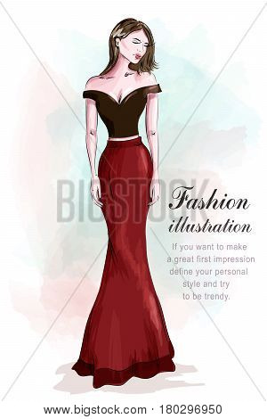 Fashion beautiful woman in romantic evening dress. Sketch.  Girl in fashion clothes: red skirt and black sexy crop top. Vector illustration.