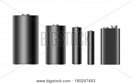 Vector Set of Black Glossy Alkaline Batteries Of Diffrent size AAA, AA, C, D, PP3 and 9 Volt Battery for branding Close up Isolated on White background
