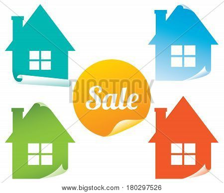 Vector set of colored stickers sale real estate Stock Illustration