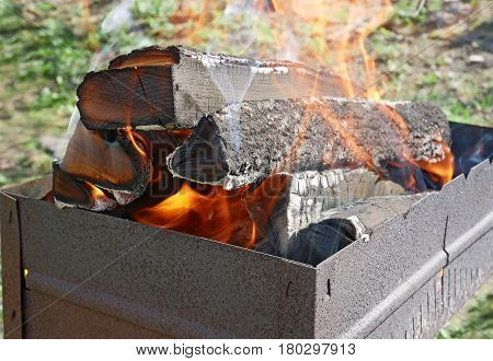 Firewood burns in rusty metal tray for broiling pan in a fine sunny weather poster