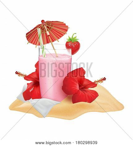 Beach composition. Strawberry cocktail strawberry hibiscus napkin cocktail tube and umbrella. Vector illustration