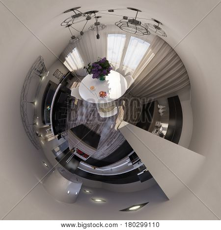 3d illustration spherical 360 degrees, seamless panorama of living room interior design. The living room is made in grey and black tones in a modren style. Tiny little world