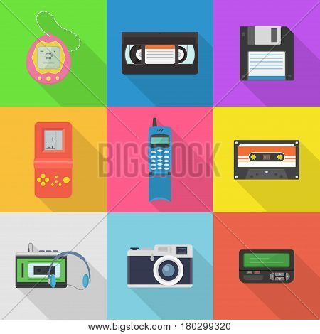 Gadgets 90's vector icon set. Popular in the 90's gadgets game console, pager, audio cassette, player, floppy disk, vhs cassette, etc. Old hipster tech gadgets and electronics.