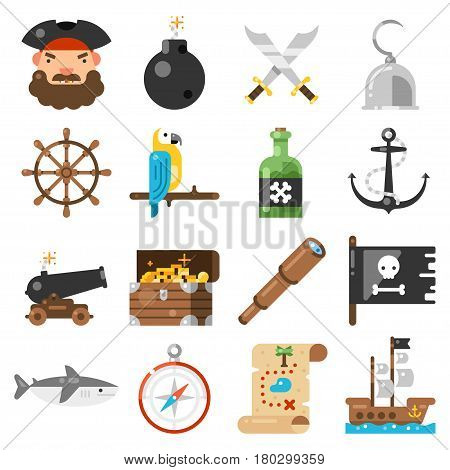 Pirates icons vector set on white background. Standard pirate accessories treasure map, ship, parrot, rum, jolly rodger, hook, etc. Isolated symbols on the theme of pirates in a flat style.