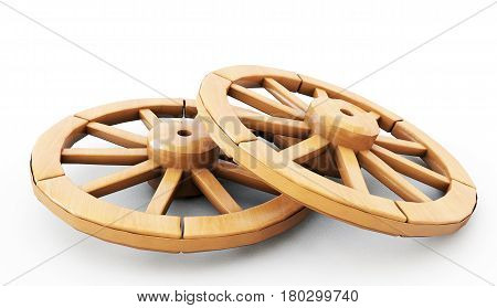 vintage wooden Wheels - 3d illustration isolated on white
