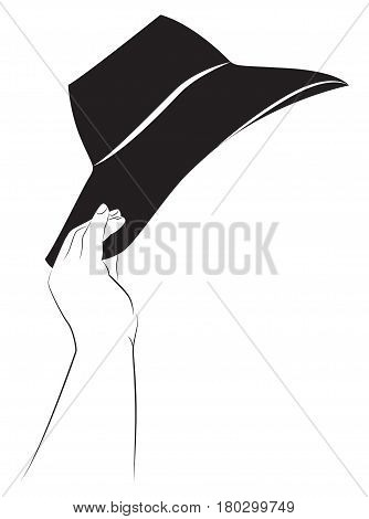 Plump woman's hand holds a hat. Vector illustration