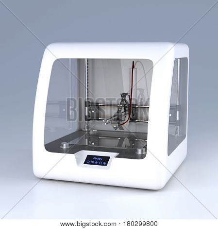 3D printer model. Professional prototype device on grey background. Side view. New technology, modern industrial equipment, hardware innovation, futuristic idea concept. 3D illustration
