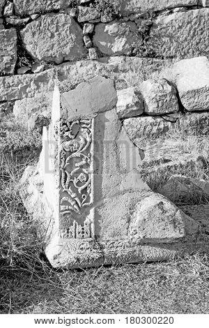 Bush Gate  In  Myra  The      Old Column  Stone  Construction Asia Greece And  Roman Temple