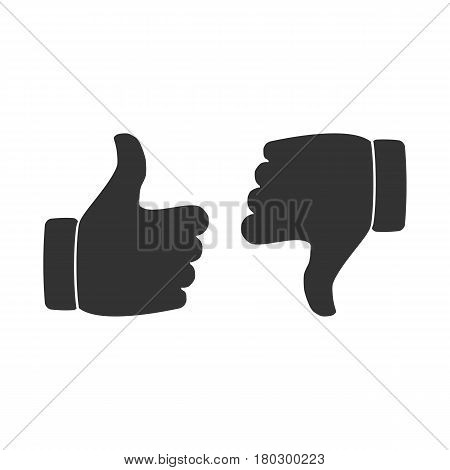 tho hand. like and dislike. vector illustration