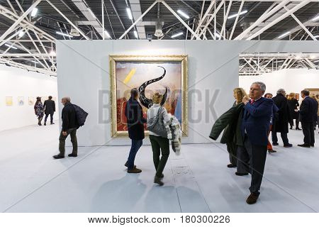 BOLOGNA ITALY. JANUARY 28. People view the ArteFiera 40. Vernissage on January 28 2016 in Bologna Italy. Artefiera is an international contemporary art fair held annually in Bologna which has reached the 40th Edition this year.