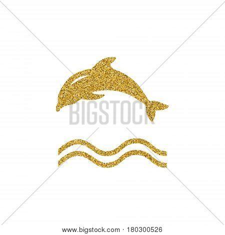 Gold effekt Dolphin logo icon design element. Vector logo concept illustration. Dolphin symbol. Design of logo with dolphin and label. Gold glitter design element.