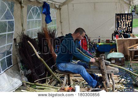 Colchester United Kingdom -1 April 2017: Carpenter undertaking traditional carving work