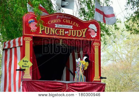 Colchester United Kingdom -1 April 2017: Traditional Punch and Judy booth