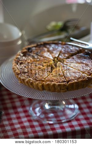 crunchy freshly baked layered meat pie. Brunch in a restaurant