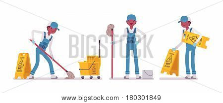 Set of male professional janitor mopping the floor, yellow cleaning bucket, caution wet floor sign, young and happy, wearing blue overall, protective gloves, isolated, white background