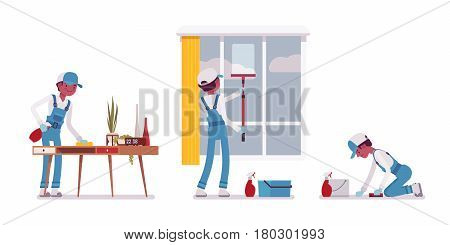 Set of male professional busy janitor wiping indoors, office cleaning, window and floor washing, young, happy and angry, wearing blue overall, cap, protective gloves, isolated on white background