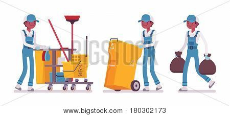 Set of male professional busy janitor taking out the trash, pulling yellow plastic cart with cleaning tools, young and happy, wearing blue overall, protective gloves, isolated on white background