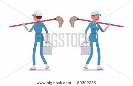 Set of female professional busy janitor in walking pose, young and smiling, wearing blue overall , protective gloves, holding mop, bucket, full length, front, rear view, isolated, white background