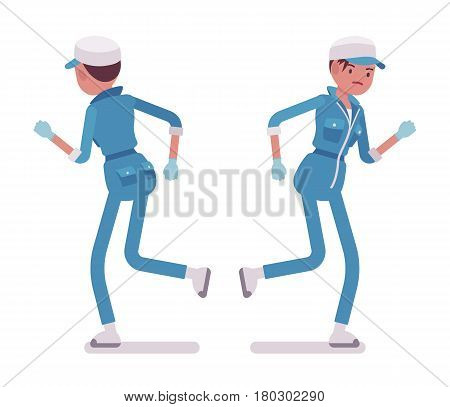 Set of female professional busy janitor in running pose, young and unhappy, wearing blue overall, protective gloves, overload, in a harry, full length, front, rear view, isolated, white background