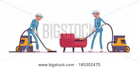 Set of female professional busy janitor vacuum cleaning indoors, floor and sofa office cleaning, young and happy, wearing blue overall, cap, protective gloves, isolated on white background
