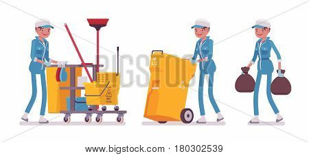 Set of female professional busy janitor taking out the trash, pulling yellow plastic cart with cleaning tools, young and happy, wearing blue overall, protective gloves, isolated on white background