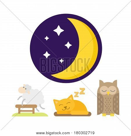 Sleeping animals icons set sweat dream vector illustration. Counting sheep to fall asleep vector illustration. Sleeping owl and cat.
