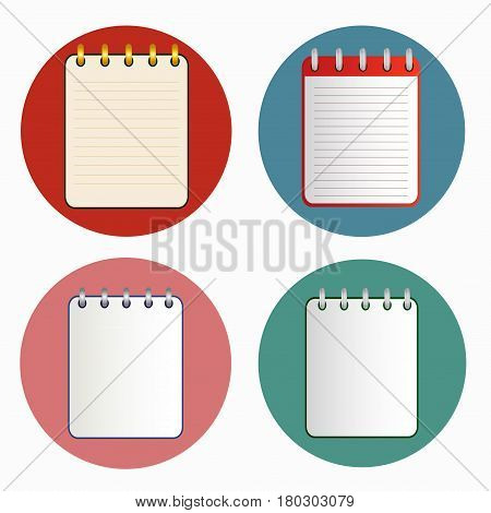 Icon of notebook in four variations on the bright colorful background. Tear-off notepad on the rings with lines and without them. Icon in flat style. Horizontal. Isolated.