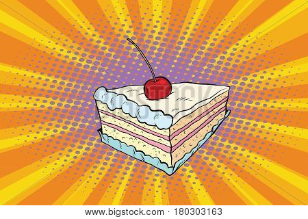Tender cake with a cherry. Pop art retro comic book vector illustration. Sweet food, confection
