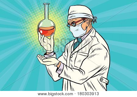 Scientist in mask analyzes laboratory flask with liquid. Pop art retro comic book vector illustration