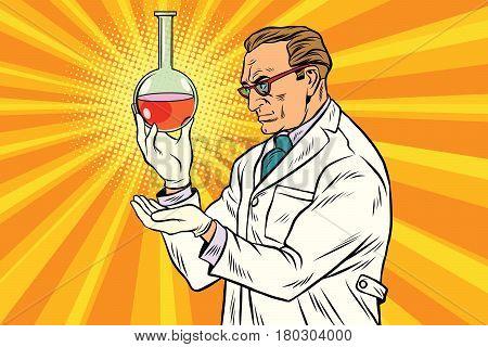 Scientist chemist analyzes laboratory flask. Pop art retro comic book vector illustration