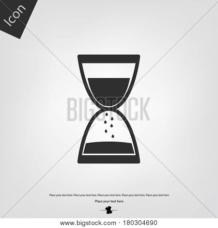 Sand clock vector icon, gray background. Vector illustration.