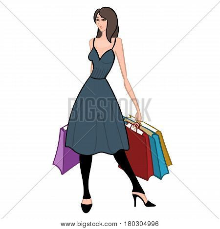 Fasionable girl with shopping bags isolated on white background. Shopper. Sales. Cartoon character. Colorful vector illustration.