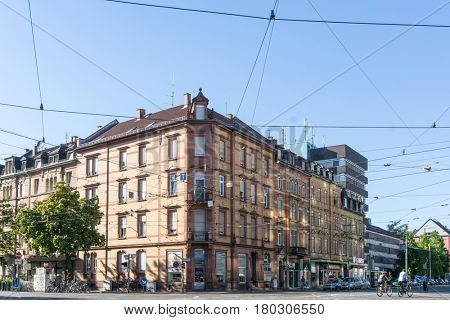 KARLSRUHE, GERMANY - August 25, 2016. Street view of Karlsruhe, Germany, the second-largest city in the state of Baden-Württemberg, in southwest Germany.