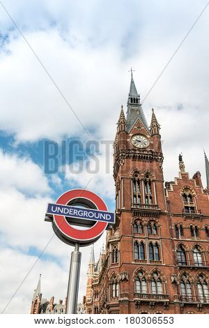 LONDON, UNITED KINGDOM - June 21, 2016. Street view of London underground in London, England, United Kingdom