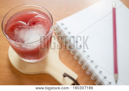 Mix Fruit Juice On Working Table stock photo
