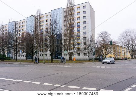 BERLIN, GERMANY- December 30, 2016 : Typical Street view December 30, 2016 in Berlin, Germany. Berlin is the capital of Germany. With a population of approximately 3.5 million people.BERLIN, GERMANY