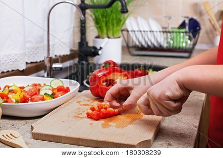 Child hands chopping a red bellpepper for a fresh vegetables salad - closeup on a kitchen sink area with all the ingredients
