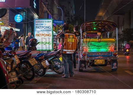 Patpong Night Market With Tuktuk Taxi On Footpath
