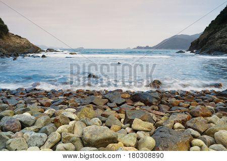 the coast in Ngam Tau Sha sai kung in hong kong
